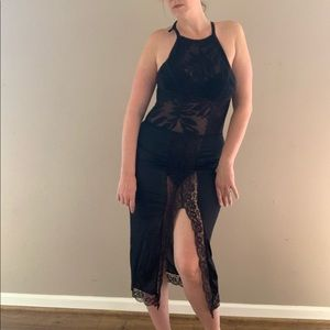 Vintage Black Nylon and Lace Maxi Slip